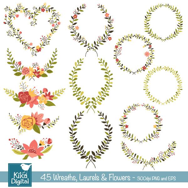 Laurels and Wreaths Vector Art