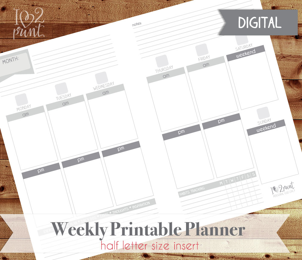 Print your own weekly planner insert kika esteves design for Design my own planner